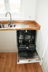 A concealed dishwasher