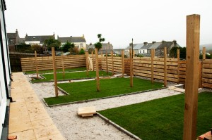 New gardens behind a set of terraced houses